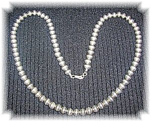 Native Ameican Hand Made Sterling Silver Beads Necklace