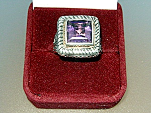Ring Sterling Silver 18K Gold Rope Amethyst  (Image1)