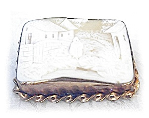 Antique Square Oriental Look Genuine Shell Cameo (Image1)