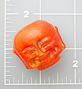 Coral Dyed Carved Budha Bead
