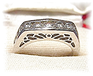 Silvertone Antique Look Ring With Czs . . . . . . . . .