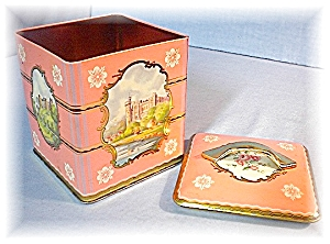 Wonderful Pink Tin Container Made In England (Image1)