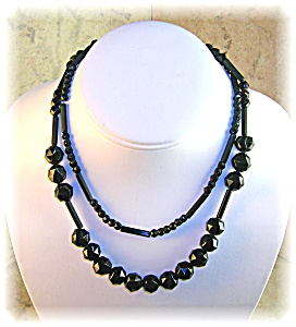 31 Inch Hand Carved Jet Black Bead Necklace