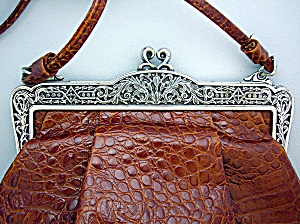 Leather Brighton handbag purse tan moc croc . . . (Image1)