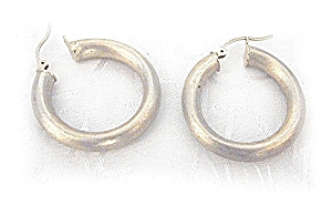 Earrings 14 K Brushed Yellow Gold Hoop (Image1)