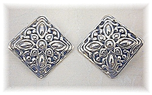 Large Ornate Sterling Silver Clip Earrings