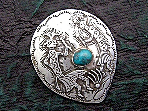 Native American Hopi Sterling Silver Malachite Pendant