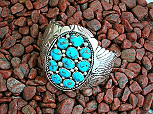 Navajo Turquoise Sterling Silver Cuff Signed 86 Grams
