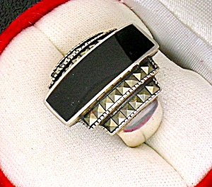 Sterling Silver Marquisite Black Onyx Ring . . . .