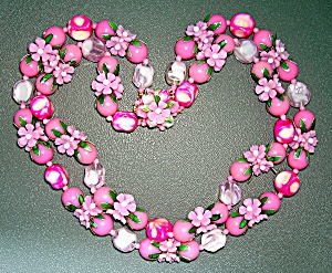 Lucite Pink White Green Flower Necklace Hong Kong (Image1)