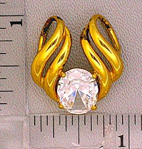 Pendant Sterling Silver Gold Vermeil Crystal Omega Slid (Image1)