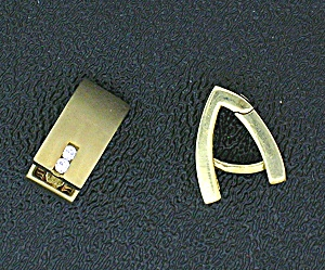 Earrings Diamond And 15kt Gold Signed Hb Huggie