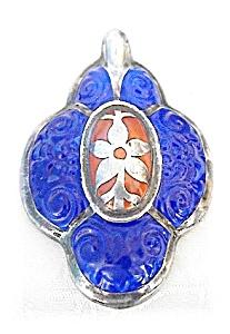 Beautiful Silver & Porcelain European Pendant (Image1)