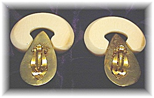 VON MUSULIN Bone Ivory Gold Over Sterling Silver Earrin (Image1)