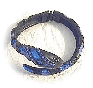 Black Metal Rhinestone Pull Apart Snake Bracelet . . . (Image1)