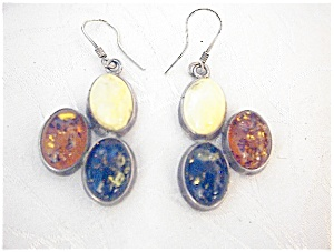 Sterling Silver & Tri Color Amber Pierrced Earrings
