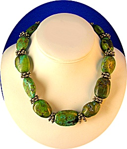 Ultra Large Fabulous Turquoise & Silv Necklac