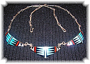 Native American Zuni Sterling Silver Inlay Bowani
