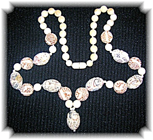 Bone Ivory Carved Beads Necklace