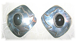 Earrings Sterling Silver Black Onyx Mexico Clips