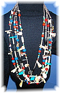Heishi Turquoise Lapis Coral Treasure Necklace