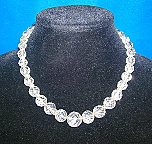 Vintage 17 Inch Faceted Crystal Bead Necklace