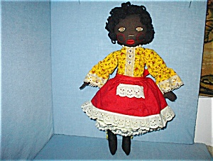 21 1/2 InchVintage Female Handmade Black Doll (Image1)