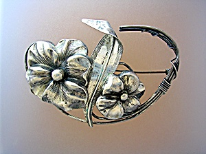 Sterling Silver Flowers and leaves Spray Pin Brooch (Image1)