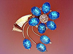 CORO Sterling Silver Light  Blue  Spray Brooch Pin (Image1)