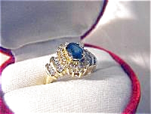 Ring 14K Yellow Gold 1ct Diamond 1ct Sapphire  (Image1)