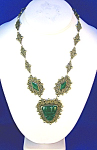 Antique Silver  Green Jade Glass Mexican Necklace (Image1)