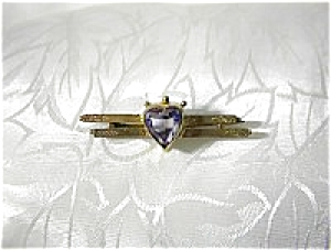 European Gold Victorian 3ct Heart Amethyst Bar Brooch