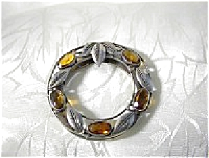 Citrine and Silver Leaves English Scarf  Dress Clip (Image1)