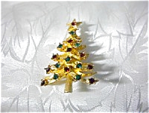 Red and Green Crystals Signed MYLU Christmas Tree Pin (Image1)