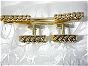 Vintage Anson Cuff Links & Tie Holder, Curb Link