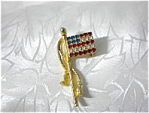 Crystal Red White and Blue Old Glory Flag Pin (Image1)
