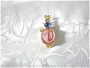 Pink Cabochon Blue and Clear Crystal  Bug Pin/Brooch (Image1)