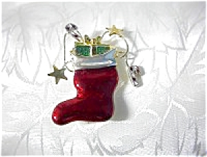Red Enamel Christmas Stocking and Presents Brooch (Image1)