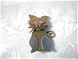 Copper Silver  Goldtone Rhinestone Cat Brooch (Image1)