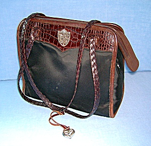 Brighton Leather Tan Black Micro Fibre Purse Bag