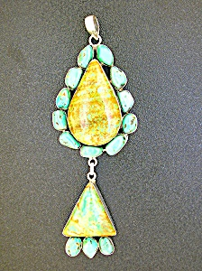 Sterling Silver Turquoise Double Pendant