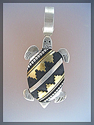 Native American Tommy Singer Sterling Silver Turtle Pen (Image1)