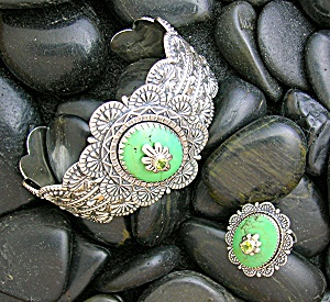 Sterling Silver Artist Mojave Green Turquoise Peridot