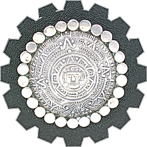 Sterling Silver Taxco Mexico TRM  Aztec Calender Pin (Image1)