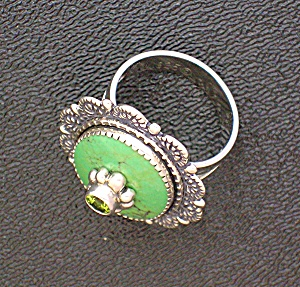 Sterling Silvergreen Turquoise Peridot Artist Ring