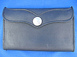 Black Leather Buffalo Nickel Wallet ,