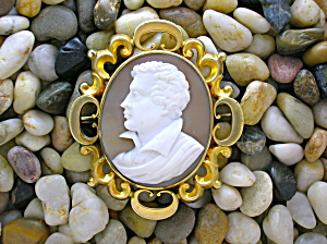 Cameo Lord Byron Set In Antique Pinchbeck