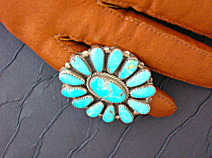 Turquoise and Sterling Silver Native American Ring (Image1)