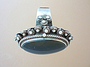Taxco Mexico Eagle 2 Black Onyx Sterling Silver Poison