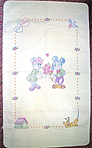 Disney Cross Stitch Mickey and Minnie Baby Quilt Kit (Image1)